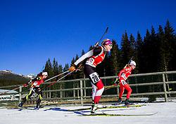LATUILLIERE Enora (FRA), HAUSER Lisa Theresa (AUT) and GONTIER Nicole (ITA) compete during Women 12,5 km Mass Start at day 4 of IBU Biathlon World Cup 2014/2015 Pokljuka, on December 21, 2014 in Rudno polje, Pokljuka, Slovenia. Photo by Vid Ponikvar / Sportida
