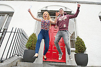 14/08/2013 Donegal girl Ciara McGarvey  who moved to Galway to repeat her leaving cert at Yeats College got 610pts. and Fergus McCabe(625) at Yeats College Galway . Photo:Andrew Downes