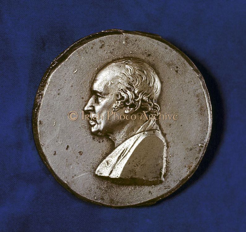 James Watt (1736-1819) Scottish engineer and inventor. Condensing steam engine. Portrait from commemorative medal