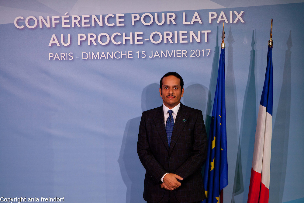 Middle East Peace Conference, Paris, France. International summit. 7O countries have participated in the summit. Qatar, Mohammed bin Abdulrahman bin Jassim Al Thani, Minister of Foreign Affairs