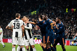 Cristano Ronaldo and Leonardo Bonucci of Juventus have a fight against Diakhaby of Valencia during the Champions League match Juventus vs Valencia. Juventus won 1-0 at Allianz Stadium in Turin on the 27th november 2018 (Photo by Alberto Gandolfo/Pacific Press/Sipa USA)