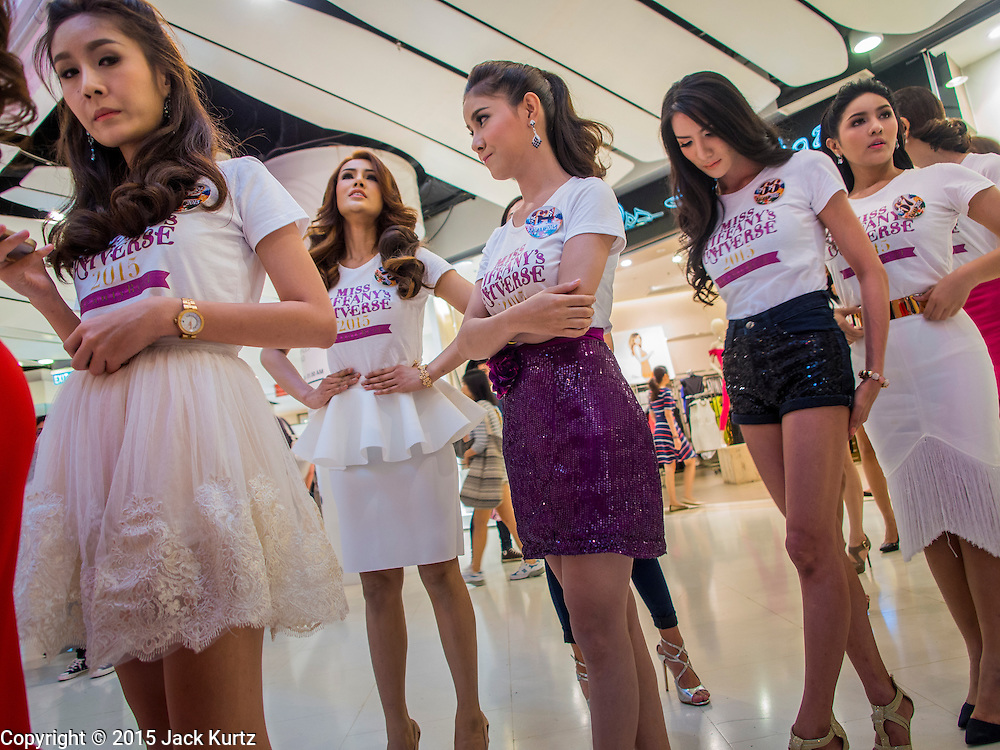 25 MARCH 2015 - BANGKOK, THAILAND: Contestants wait to go on stage during the first round of the Miss Tiffany's contest at CentralWorld, a large shopping mall in Bangkok. Miss Tiffany's Universe is a beauty contest for transgender contestants; all of the contestants were born biologically male. The final round will be held on May 8 in the beach resort of Pattaya. The final round is televised of the  Miss Tiffany's Universe contest is broadcast live on Thai television with an average of 15 million viewers.     PHOTO BY JACK KURTZ