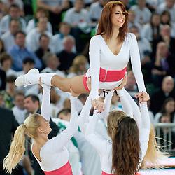 Cheerleaders Dragon Ladies during basketball match between KK Union Olimpija (SLO) and Power E. Valencia (SPA) in Group D of Turkish Airlines Euroleague, on November 17, 2010 in Arena Stozice, Ljubljana, Slovenia. (Photo By Matic Klansek Velej / Sportida.com)