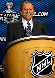 June 1, 2011; Vancouver, BC, CANADA; NHL commissioner Gary Bettman speaks at a press conference before game one of the 2011 Stanley Cup Finals between the Vancouver Canucks and the Boston Bruins at Rogers Arena. Mandatory Credit: Jason O. Watson / US PRESSWIRE