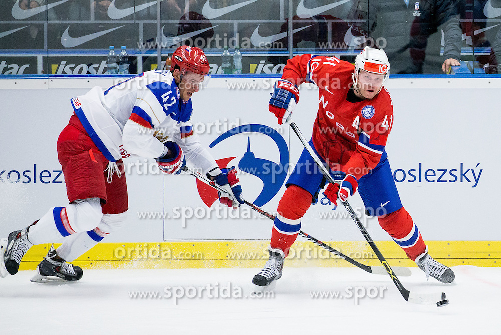 Artyom Anisimov of Russia vs Patrick Thoresen of Norway during Ice Hockey match between Russia and Norway at Day 1 in Group B of 2015 IIHF World Championship, on May 1, 2015 in CEZ Arena, Ostrava, Czech Republic. Photo by Vid Ponikvar / Sportida