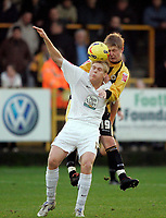 Photo: Marc Atkins.<br />Boston United v Hereford United. Coca Cola League 2. 25/11/2006. Alan Connell (L) of Hereford challenges Richie Ryan of Boston in  the air.