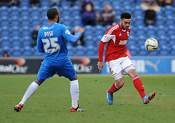 Bristol City's Derrick Williams plays a pass - Photo mandatory by-line: Dougie Allward/JMP - Mobile: 07966 386802 22/03/2014 - SPORT - FOOTBALL - Colchester - Colchester Community Stadium - Colchester United v Bristol City - Sky Bet League One
