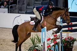 RYAN Devin (USA), Cooper<br /> Göteborg - Gothenburg Horse Show 2019 <br /> Longines FEI Jumping World Cup™ Final<br /> Training Session<br /> Warm Up Springen / Showjumping<br /> Longines FEI Jumping World Cup™ Final and FEI Dressage World Cup™ Final<br /> 03. April 2019<br /> © www.sportfotos-lafrentz.de/Stefan Lafrentz