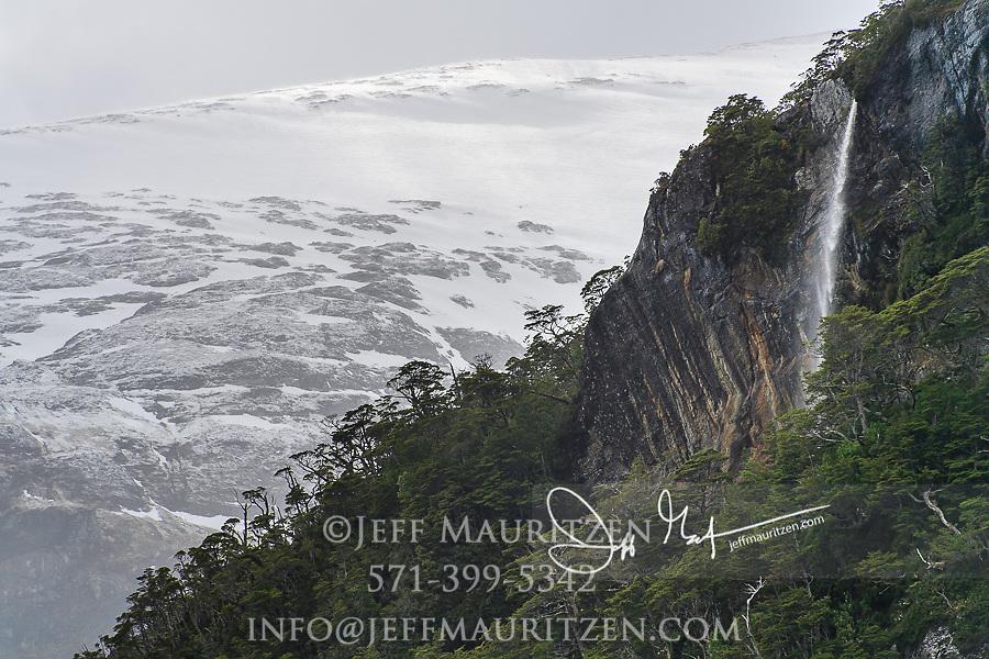 Waterfall in Parque Nacional Alberto de Agostini in Chile.