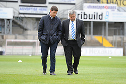 Bristol Rovers Manager, Darrell Clarke and Bristol Rovers Chairman Nick Higgs talk inspect the pitch prior to kick off. - Photo mandatory by-line: Alex James/JMP - Mobile: 07966 386802 - 03/05/2015 - SPORT - Football - Bristol - Memorial Stadium - Bristol Rovers v Forest Green Rovers - Vanarama Football Conference