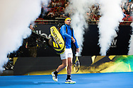 SYDNEY, NSW - JANUARY 07: Rafael Nadal (ESP) walks on to court at The Sydney FAST4 Tennis Showdown on January 07, 2018, at Qudos Bank Arena in Homebush, Australia. (Photo by Speed Media/Icon Sportswire)