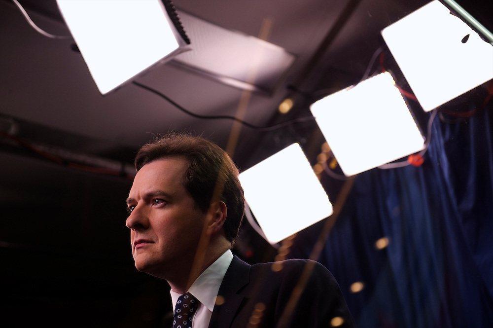 Chancellor of the Exchequer George Osborne is interviewed by iTV in their studio on the third, and penultimate, day of the Conservatives Party Conference at the ICC, Birmingham, England on October 5, 2010.  This is the first conference since the government coalition with the Liberal Democrats.