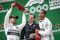 April 14, 2019 - Shanghai, China - Motorsports: FIA Formula One World Championship 2019, Grand Prix of China, ..#77 Valtteri Bottas (FIN, Mercedes AMG Petronas Motorsport), Marcus Dudley (Mercedes AMG Petronas Motorsport),  #44 Lewis Hamilton (GBR, Mercedes AMG Petronas Motorsport) (Credit Image: © Hoch Zwei via ZUMA Wire)