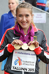 12.07.2015, Kadriorg Stadion, Tallinn, EST, U23 Leichtathletik EM, Tallinn, im Bild Rebekka Haase (GER) // Rebekka Haase (GER) gold medalist in women??s 100m, 200m and 4x100m Relay U23 Championships at the Kadriorg Stadion in Tallinn, Estland on 2015/07/12. EXPA Pictures © 2015, PhotoCredit: EXPA/ Eibner-Pressefoto/ Fusswinkel<br /> <br /> *****ATTENTION - OUT of GER*****