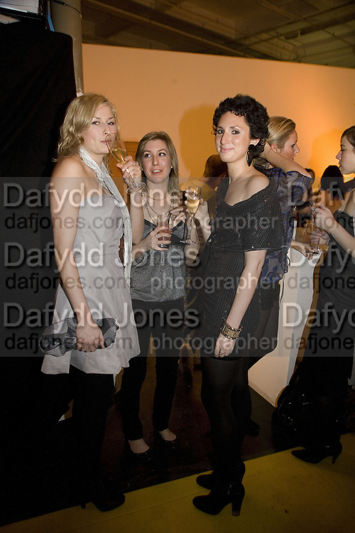 EMILY SKJELBRED, KIERA O'BRIEN AND OLIVIA SMITH, Wallpaper Design Awards. Old Post Sorting Office. New Oxford St. London. 9 January 2008. -DO NOT ARCHIVE-© Copyright Photograph by Dafydd Jones. 248 Clapham Rd. London SW9 0PZ. Tel 0207 820 0771. www.dafjones.com.