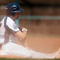 18 April 2010: Florian Peyrichou of Savigny is seen at third base after he slides during game 1/week 2 of the French Elite season won 8-1 by Savigny (Lions) over Senart (Templiers), at Parc municipal des sports Jean Moulin in Savigny-sur-Orge, France.