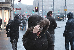Snow fell in Edinburgh today as the temperature dropped.<br />