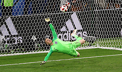 England goalkeeper Jordan Pickford saves a penalty from Colombia's Carlos Bacca during the FIFA World Cup 2018, round of 16 match at the Spartak Stadium, Moscow.