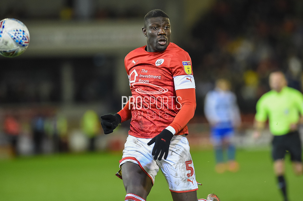 Bambo Diaby of Barnsley FC on the attack during the EFL Sky Bet Championship match between Barnsley and Queens Park Rangers at Oakwell, Barnsley, England on 14 December 2019.