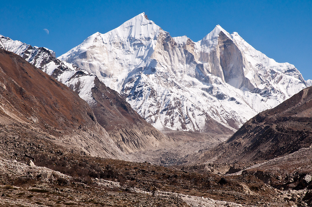 Bhagirathi Peak - the Ganges flows out of a glacier at the bottom of the mountain, at a place called Gaumukh