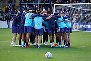 Wycombe Wanderers huddle after warm ups during the EFL Sky Bet League 1 match between Wycombe Wanderers and Sunderland at Adams Park, High Wycombe, England on 19 October 2019.