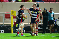 Max Crumpton of Bristol Rugby is congratulated for his try by Mitch Eadie of Bristol Rugby - Mandatory by-line: Dougie Allward/JMP - 24/03/2017 - RUGBY - Ashton Gate - Bristol, England - Bristol Rugby v Gloucester Rugby - Aviva Premiership