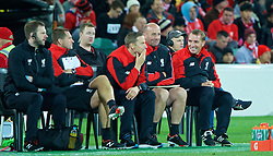 ADELAIDE, AUSTRALIA - Monday, July 20, 2015: Liverpool's manager Brendan Rodgers with his team first-team development coach Pepijn Lijnders and first team coach Gary McAllister during a preseason friendly match against Adelaide United at the Adelaide Oval on day eight of the club's preseason tour. (Pic by David Rawcliffe/Propaganda)