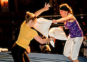 May 17, 2011 - Brooklyn, New York, USA - <br /> Pillow Fight World Cup<br /> American Kate Russel (right) takes on Austrian Gudrun Grondinger in the final of the first ever Pillow Fight World Cup held in Brooklyn, NY. Grondinger won the match and the title. Entrants came from as far afield as Japan and Sweden. Each match consists of two, two-minute rounds. Fighters gain a point for each blow to the opponents body or head. Points are deducted each time her hand or pillow touches the floor. If both knees touch the ground it is a KO. Pillow cannot weight more than 750 grams.<br /> (Credit Image: © Stefano Giovannini/Exclusivepix)
