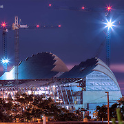 A look at the Kauffman Center construction from near 25th and Troost, on July 6, 2010 at dusk.