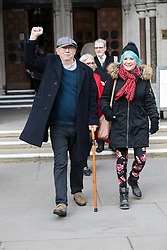 "© Licensed to London News Pictures. 08/02/2018. London, UK. IAN BONE with Jane Nichols celebrate as they leave the High Court in London.<br /> The Qatari royal owners of the Shard via Management Company, Teighmore Limited sought a high court injunction to prevent protests against empty housing led by veteran anarchist founder and leader, Ian Bone, 70 of the campaign group newspaper, Class War outside the 72-storey London landmark, where 10 multiple million-pound luxury apartments lie empty. Class War are organising a series of ""noisy, but peaceful"" ""ghost towers"" protests outside the Shard. Photo credit: Vickie Flores/LNP"