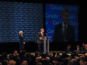 14 October, 2008, Calgary AB Canada - Stephen Harper, the Leader of the Conservative Party of Canada, delivers his victory speech at the Telus Convention Centre in Calgary. Conservative Party of Canada won a second Minority Government in a row that night.
