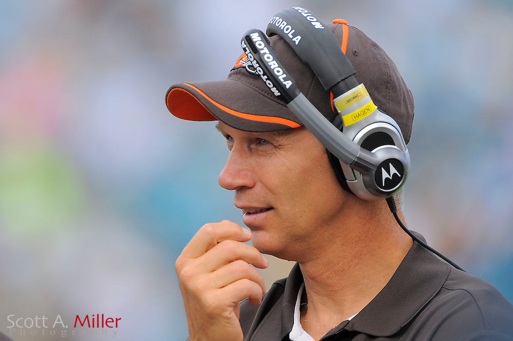Cleveland Browns tight ends coach Steve Hagen during the Browns game against the Jacksonville Jaguars at EverBank Field on Nov. 21, 2010 in Jacksonville, Florida...©2010 Scott A. Miller