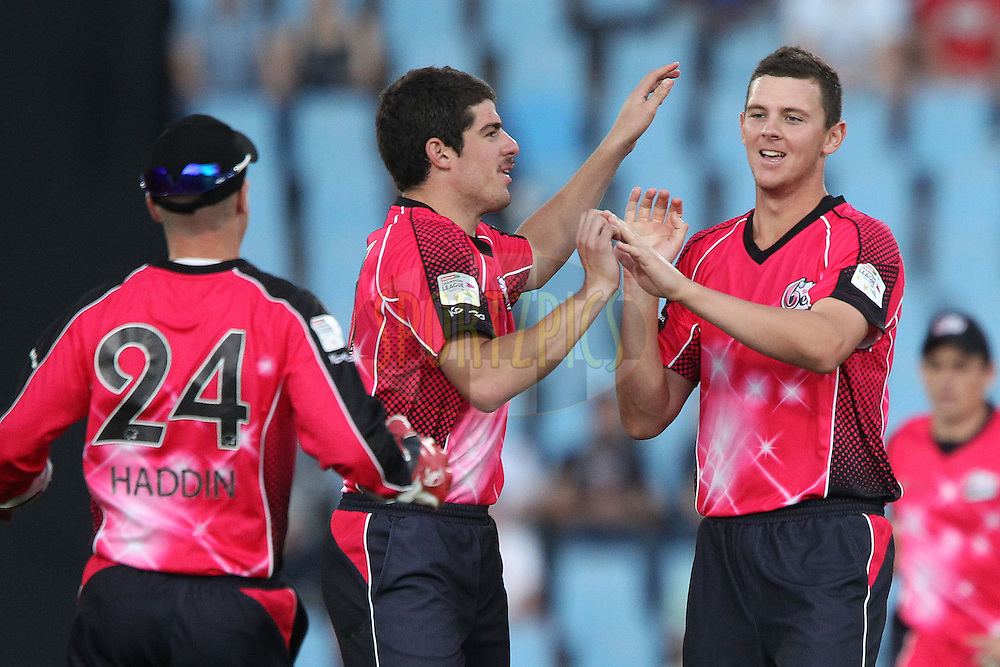 Josh Hazlewood of the Sydney Sixers celebrates the wicket of Jacques Rudolph of the Titans during the 2nd semi final of the Karbonn Smart CLT20 South Africa between The Sydney SIxers and the The Titans held at Supersport Park in Centurion, Gauteng on the 26th October 2012..Photo by Ron Gaunt/SPORTZPICS/CLT20.