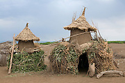 Little storage houses from the tribe of the Dasanech, Omovalley,Ethiopia,Africa