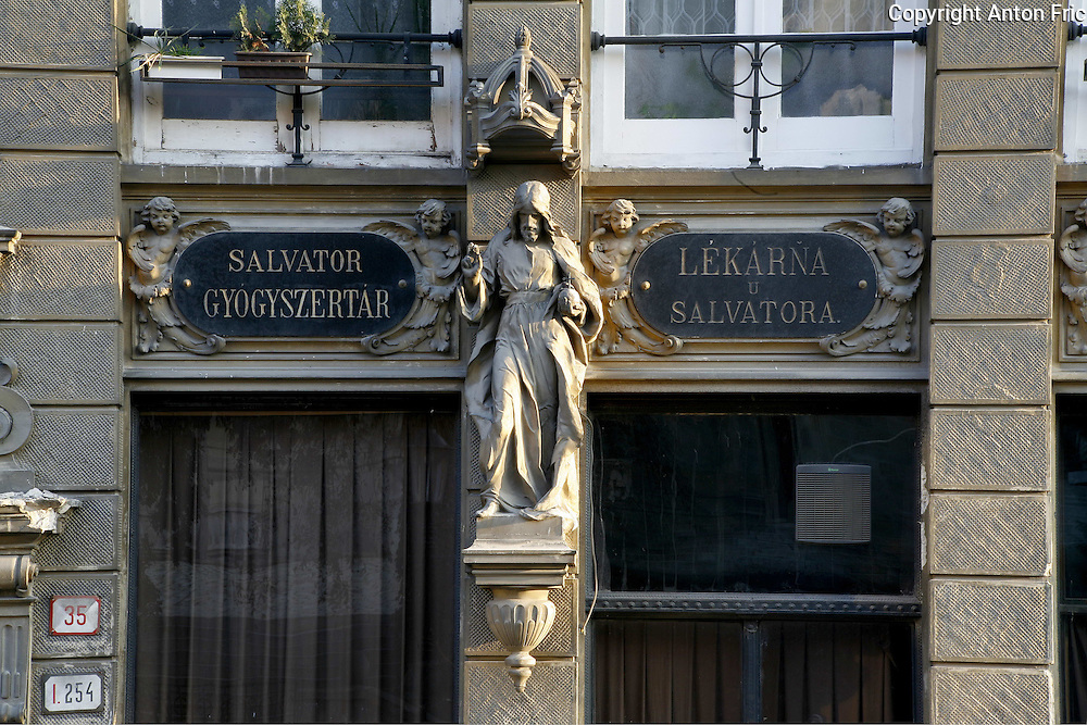 Pharmacy Salvator at the Sign of the Saviour at Rudnay square (Rudnayovo namestie) in Bratislava, Slovakia. This neo-renaissance building was constructed by pharmacist Rudolf Adler in 1904. The baroque interior, which dates from 1727, is now part of a private collection. The building's facade incorporates a stone statue of the Christ the Saviour by Alojz Rigele.