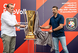 05-06-2019 SLO: EuroVolley 99 days to go, Ljubljana<br /> OZS President Metod Ropret and Slovenian EuroVolley Ambassador Tomislav Smuc presented a glittering gold-plated EuroVolley trophy with 99 days to go and 99 Mini Volleyball courts were available in Ljubljana downtown to promote the CEV EuroVolley 2019 Men