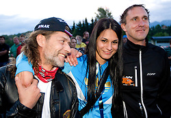 ..., Renata Bohinc Peterka and Urban Franc during Ski Jumping Summer Continental Cup in Kranj and last jump of Primoz Peterka's career, one of the best ski jumpers in history, on July 2, 2011, in Kranj, Slovenia. (Photo by Vid Ponikvar / Sportida)
