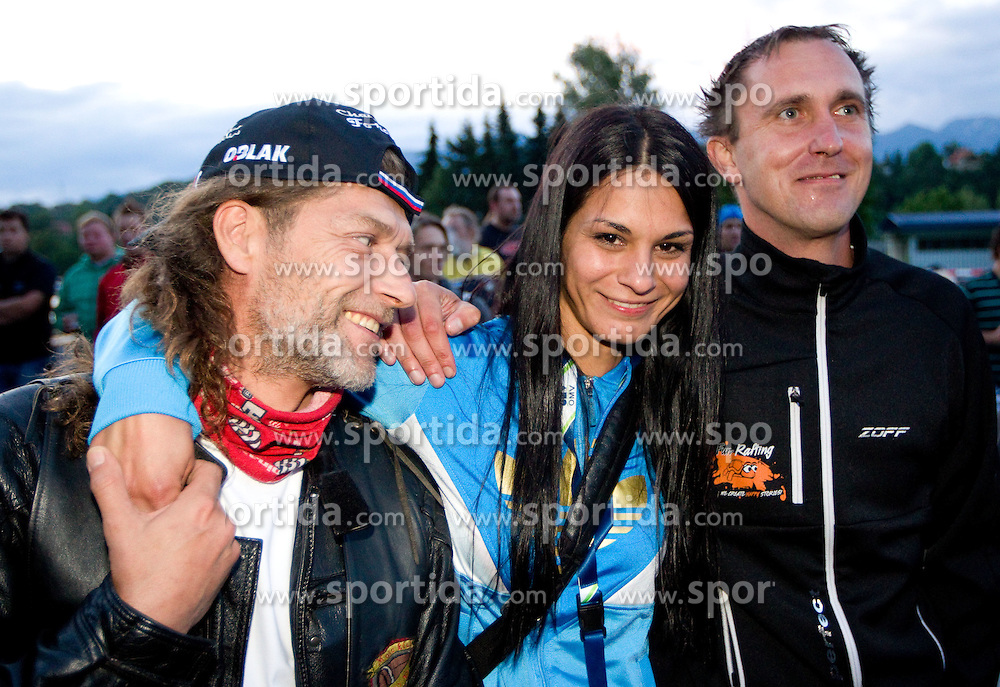 ..., Renata Bohinc Peterka and Urban Franc during Ski Jumping Summer Continental Cup in Kranj and last jump of Primoz Peterka's career, one of the best ski jumpers in history, on July 2, 2011, in Kranj, Slovenia. (Photo by Vid Ponikvar / Sportida)