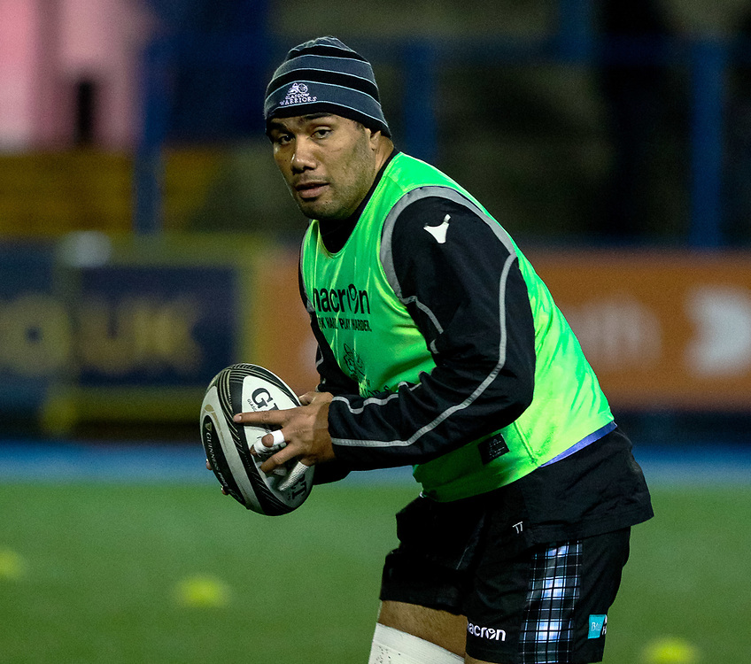 David Tameilau of Glasgow Warriors during the pre match warm up<br /> <br /> Photographer Simon King/Replay Images<br /> <br /> Guinness PRO14 Round 15 - Cardiff Blues v Glasgow Warriors - Saturday 16th February 2019 - Cardiff Arms Park - Cardiff<br /> <br /> World Copyright © Replay Images . All rights reserved. info@replayimages.co.uk - http://replayimages.co.uk