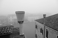 Italy. Venice elevated view. Venise the grand canal in the fog  Venice - Italy   / le grand canal dans la brume  Venise - Italie   A
