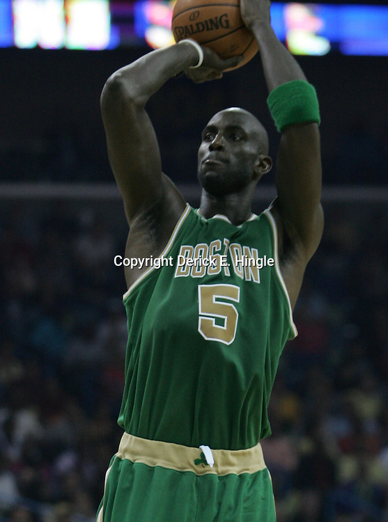 Kevin Garnett #5 of the Boston Celtics shoots in the second quarter of their NBA game on March 22, 2008 at the New Orleans Arena in New Orleans, Louisiana. The New Orleans Hornets defeated the Boston Celtics 113-106.