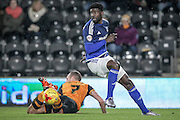 Bruno Ecuele Manga (Cardiff City) during the Sky Bet Championship match between Hull City and Cardiff City at the KC Stadium, Kingston upon Hull, England on 13 January 2016. Photo by Mark P Doherty.
