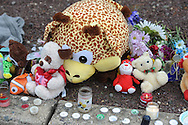 A memorial was started by family and friends at the site of a fatal ATV crash that left one boy dead and another in critical condition Saturday, January 27, 2017 in Bensalem, Pennsylvania. (Photo by William Thomas Cain)