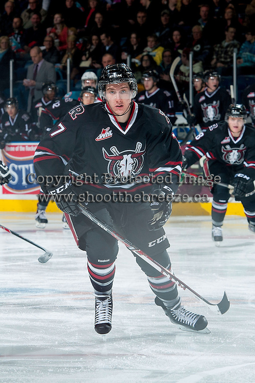 KELOWNA, CANADA -FEBRUARY 5: Brady Gaudet D #7 of the Red Deer Rebels skates against the Kelowna Rockets on February 5, 2014 at Prospera Place in Kelowna, British Columbia, Canada.   (Photo by Marissa Baecker/Getty Images)  *** Local Caption *** Brady Gaudet;