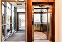 Full length view of elevator in condominium