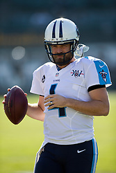 OAKLAND, CA - NOVEMBER 24: Ryan Fitzpatrick #4 of the Tennessee Titans warms up before the game against the Oakland Raiders at O.co Coliseum on November 24, 2013 in Oakland, California. The Tennessee Titans defeated the Oakland Raiders 23-19. (Photo by Jason O. Watson/Getty Images) *** Local Caption *** Ryan Fitzpatrick