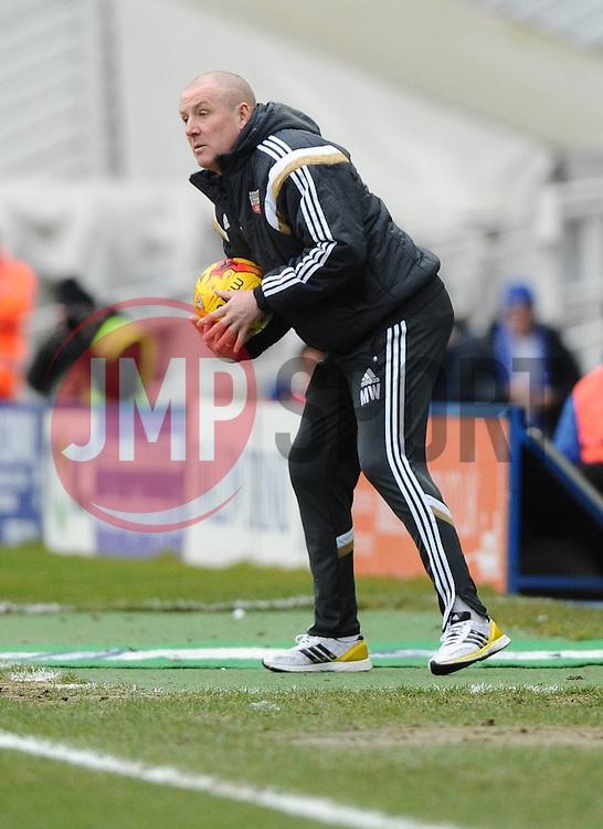 Brentford Manager, Mark Warburton catches the ball  - Photo mandatory by-line: Joe Meredith/JMP - Mobile: 07966 386802 - 28/02/2015 - SPORT - Football - Birmingham - ST Andrews Stadium - Birmingham City v Brentford - Sky Bet Championship