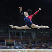 Gymnastics - Olympics: Day 2  Lauren Hernandez #393 of the United States performing her routine on the Balance Beam during the Artistic Gymnastics Women's Team Qualification round at the Rio Olympic Arena on August 7, 2016 in Rio de Janeiro, Brazil. (Photo by Tim Clayton/Corbis via Getty Images)