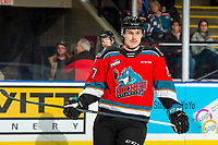 KELOWNA, BC - NOVEMBER 30: Deegan Mofford #27 of the Kelowna Rockets stands on the ice against the Prince George Cougars  at Prospera Place on November 30, 2019 in Kelowna, Canada. (Photo by Marissa Baecker/Shoot the Breeze)