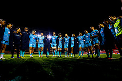 Worcester Warriors huddle after beating Leicester Tigers at Welford Road Stadium - Mandatory by-line: Robbie Stephenson/JMP - 03/11/2018 - RUGBY - Welford Road Stadium - Leicester, England - Leicester Tigers v Worcester Warriors - Gallagher Premiership Rugby